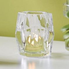 Optic Diamond Votive Holder by PartyLite - Sparkling cut glass holder adds a twinkle to your decor when lit with a votive or tealight candle. SHOP ONLINE : http://www.partylite.biz/legacy/sites/nikkihendrix/productcatalog?page=productdetail&sku=P91699&categoryId=57714&showCrumbs=true