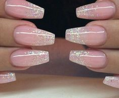 pink ombre w/glitter fade