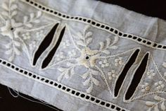 Vtg Antique Lace French Whitework Embroidery on Muslin Ribbon Trim 2-1/2 x 107