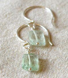 Green Fluorite Earrings Wire Wrapped Green by StellaZigantiDesigns, $11.00