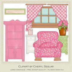 Romantic Room Furniture Exclusive Clipart by Cheryl Seslar Paper Doll House, Paper Houses, Doll Furniture, Dollhouse Furniture, Paper Toys, Paper Crafts, Casa Pop, Quiet Book Templates, Diy Quiet Books