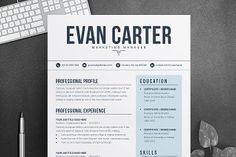 Ad: Modern & Professional Resume / CV by ResumeInventor on Welcome to the Resume Inventor ! ★★★★★ --- We make every piece of our resume design, such as text, color, photos, design spaces and other Template Cv, Modern Resume Template, Creative Resume Templates, Cover Letter Template, Letter Templates, Templates Free, Cv Design, Resume Design, Design Ideas