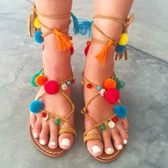 Boho Bali Tie Up Gladiator Sandals for Summer. So cute !! As seen on They All Hate Us with Elle Ferguson. Contact me for orders $89 plus shipping ✈️ X