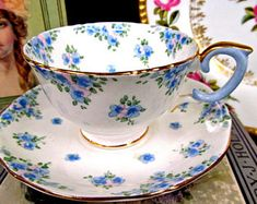 Crown Staffordshire Tea Cup and Saucer Pretty Floral Painted Teacup Pattern