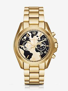 Watch Hunger Stop Oversized Bradshaw 100 Gold-Tone Watch by Michael Kors