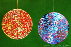 kids craft - ornaments from puffy paint and old cds (possible christmas party craft?)
