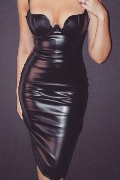 PU Leatherette dress is a must have for the season. Rock your inner vixen with the incredible curve creating stretch leatherette bustier dress. Made from gorgeously soft and supple leatherette, is cut