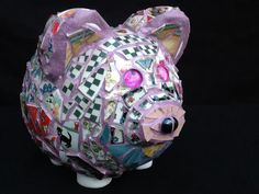 Piggy Bank To Mother mosaic Pig 9 x 8 x 7 by MountainMosaicsmore