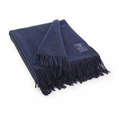 Lexington Company Icons Solid Wool Throw, Blue | The Organizing Store #lexingtoncompany