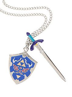 "<p>Silver tone chain necklace from <i>The Legend Of Zelda</i> with Master Sword & Hylian Shield pendants design.</p>  <ul> <li>20"" chain; 1 1/4"" - 2 1/4"" pendants</li> <li>Metal</li> <li>Imported</li> </ul>"