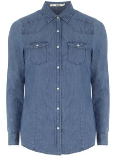 Mid-Wash Blue Denim Shirt