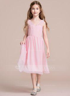 [US$ 77.99] A-Line/Princess V-neck Tea-Length Chiffon Junior Bridesmaid Dress With Bow(s)