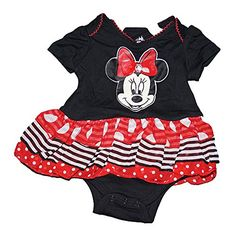 Disney Minnie Mouse Baby Girl Creeper with Tiered Flounce  Red Black White *** Be sure to check out this awesome product.
