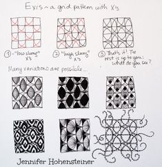 Online instructions for drawing Jennifer Hohensteiner's Zentangle® pattern: Exis.