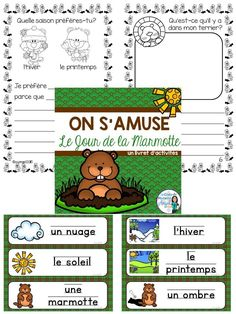 Jour de la marmotte!  Groundhog day fun in French!  Great booklet of activities and word wall.