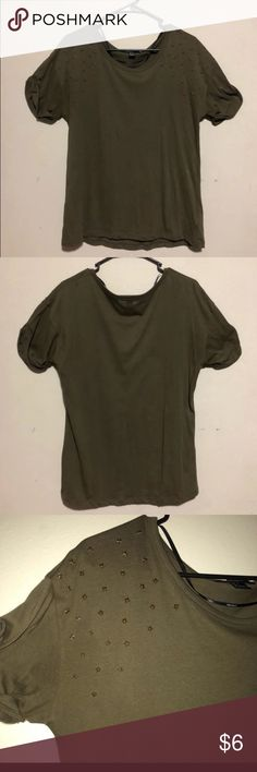 67c19bf38 Forever 21 Studded Shirt Comfortable & soft army green forever 21 shirt.  Has bronze studded