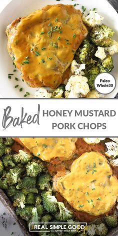 A tangy and flavorful honey mustard sauce turns boring pork chops into an impressive yet easy dinner. A sheet pan meal that includes healthy veggies, these baked honey mustard pork chops will become a go-to easy family meal! It's the perfect Paleo or Whole30 dinner. | realsimplegood.com #paleo #whole30 #sheetpan #porkchops