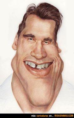 Caricatura of Arnold Schwarzenegger. Cartoon Faces, Funny Faces, Cartoon Art, Caricature Artist, Caricature Drawing, Funny Caricatures, Celebrity Caricatures, Arnold Schwarzenegger, Create A Comic