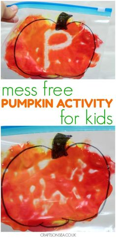 Mess free and perfect for sensory play, learning about colour mixing or mark making. This easy mess free pumpkin craft is perfect for kids!