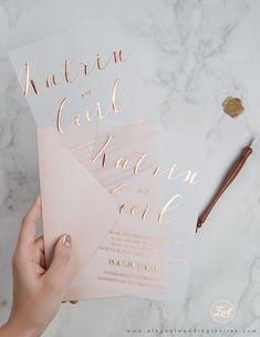 Faire-part mariage - invitation mariage - - Rose gold foil printing on vellum paper Laser Cut Wedding Invitations, Wedding Stationary, Wedding Invitation Cards, Wedding Cards, Gold Invitations, Wedding Wishes, Classic Wedding Invitations, Rose Gold Invites, Rose Gold Wedding Invitation