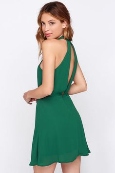GIVE ME THIS DRESS. Halter At Ya Forest Green Dress at Lulus.com!