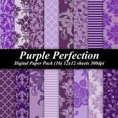 BUY 2 GET 1 FREE - Purple Perfection Digital Paper Pack (16) 12x12 sheets 300 dpi scrapbooking invitations wedding purple lavender damask. $4.00, via Etsy.