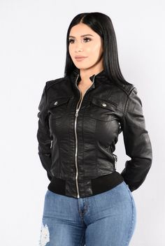 - Available In Black, Cognac, And Wine - Collarless PU Leather Jacket - Long Sleeve - Zipper Front Closure - Functional Pockets - Ribbed Knit Waist Band And Cuff - Shell - 100% Polyurethane - Lining -
