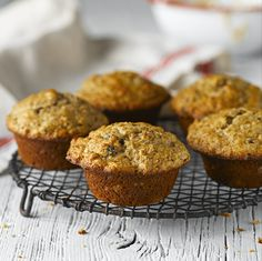 All-Bran™ Banana Raisin Muffins Recipe - These moist muffins are so good that mornings might become something you dream about. #AllBran #Recipe #Fibre #Banana #Raisin #Muffin