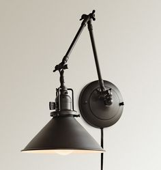 Rejuvenation Industrial: Reed Plug-In Swing-Arm Wall Sconce