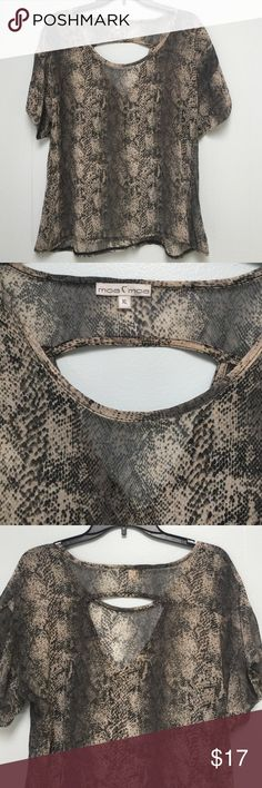 Moa Moa sheer top SZ XL Moa Moa sheer snake skin print top SZ XL. High low, with opening in the back. 100% polyester. No signs of wear Moa Moa Tops Blouses