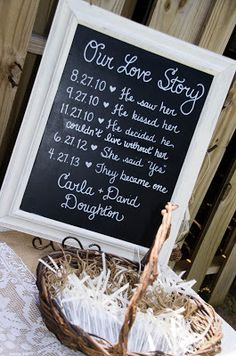 Bride & groom's story at welcome table near the guestbook.