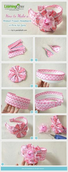 Tutorial on How to Make a Ribbon Flower Headband in Pink for Girls from… Ribbon Art, Diy Ribbon, Ribbon Crafts, Flower Crafts, Ribbon Bows, Ribbon Flower, Hair Ribbons, Diy Hair Bows, Making Hair Bows
