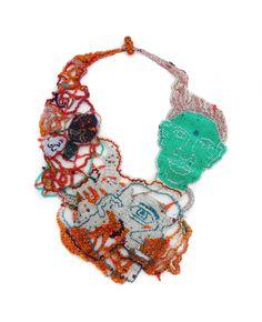 """JOYCE J. SCOTT HIDING Neckpiece. 2013. Peyote-stitched glass beads, thread  14"""" x 9"""""""