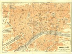 1925 Frankfurt City Map, Antique Street Plan, Hesse, Germany, Baedeker at CarambasVintage, 16.00 USD, http://etsy.me/WQxxP1