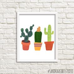 Cactus print, digital print of three cactusses, cacti, succulent,... ($4.59) ❤ liked on Polyvore featuring home, home decor, wall art, floral home decor, floral wall art, cactus wall art, cactus home decor and succulent wall art