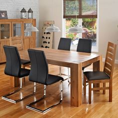 Solid Oak Massive Dining Range #dining #oak #table #chairs #leather #wood #roomscene #diningroom http://www.cookesfurniture.co.uk/