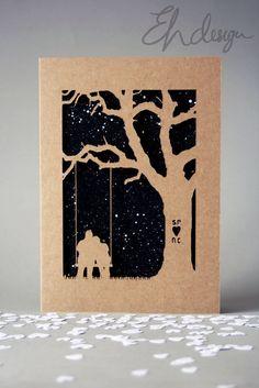 Personalised Papercut Tree Swing Kraft Card - Wedding - Anniversary - Valentines £10.50