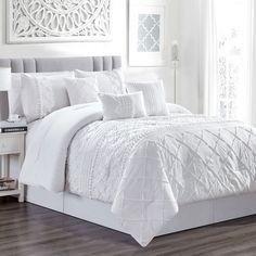 7 Piece Harmony White Comforter Set Image 1 of 5 White Comforter Bedroom, Bedroom Sets, Bedding Sets, Bedroom Retreat, Bedroom Curtains, White Comforter Queen, White Bed Comforters, Elegant Comforter Sets, Luxury Bedrooms