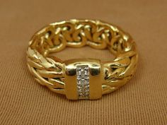 14K Yellow Gold Byzantine and Pave DIAMOND Band Ring - Size 7.25 #Unbranded #Band  $399