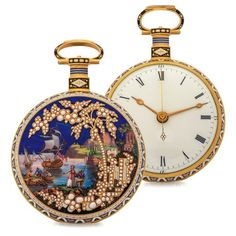 "ILBERY LARGE CHINESE MARKET WATCH ""A GRAND VIEW OF THE SEA SHORE"" GOLD AND ENAMEL offered in Antiquorum's Nov 13 auction in Geneva. Est: CHF 60,000 - 80,000. Details: http://www.antiquorum.com/catalog/lots/ilbery-lot-302-158?page=1&q=ilbery"