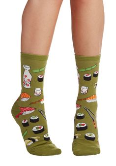 Say What You Sushi Socks. Afternoon lunch is perfectly playful when you sport these sushi-patterned socks at the table! #green #modcloth