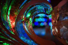 Ice sculpture close up at night - Christmas decoration, illuminated ice sculptures