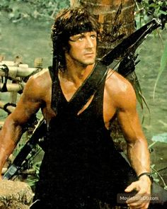 Rambo: First Blood Part II - Publicity still of Sylvester Stallone Hollywood Actor, Hollywood Actresses, Actors & Actresses, Silvestre Stallone, Rambo 2, Sylvester Stallone Rambo, Action Movie Stars, Military Action Figures, First Blood