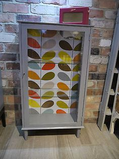 Stunning retro display cabinet - orla #kiely #fabric - vintage - #1960s/70s - gre, View more on the LINK: http://www.zeppy.io/product/gb/2/231845619402/