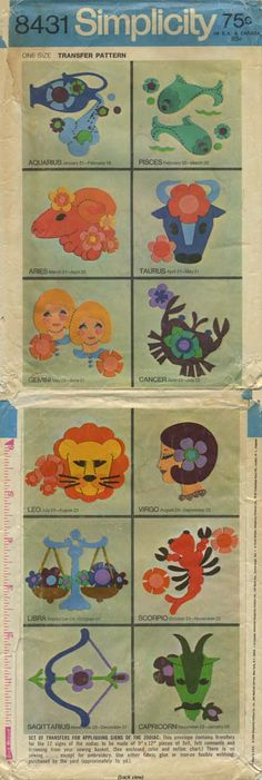 Vintage Sewing Pattern for Signs of the Zodiac | Simplicity 8431 | Year 1969 | One Size