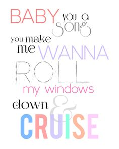 Florida Georgia Line, Cruise, Song Lyric Art, Country Music, Print, Typography