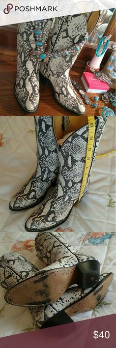 Faux Snakeskin leather Cowboy Boots Faux snakeskin leather cowboy boots.  Minimal wear. Size 7 1/2M Laredo Shoes Heeled Boots