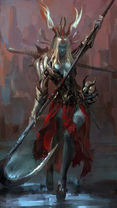 Dark Elf from the Asian region. d&d, pathfinder, rpg Elves Fantasy, Fantasy Races, Fantasy Warrior, Warrior Angel, Dark Fantasy Art, Fantasy Artwork, Dnd Characters, Fantasy Characters, Female Character Design