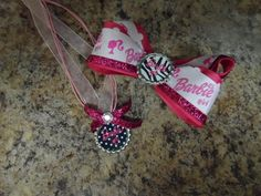 Barbie bottle cap necklace and bow by MyLilGirlsBoutique on Etsy, $10.00