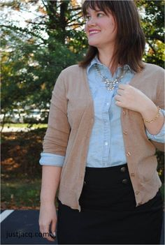 Chambray button down, camel cardigan, and black pencil skirt.  ootd.  perfect fall and winter work outfit.